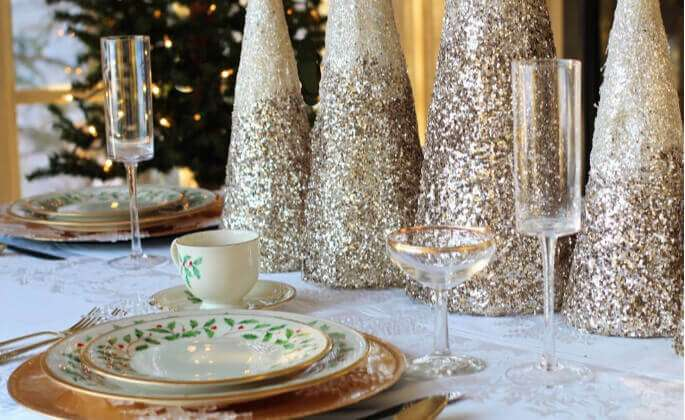 A festive holiday table setting
