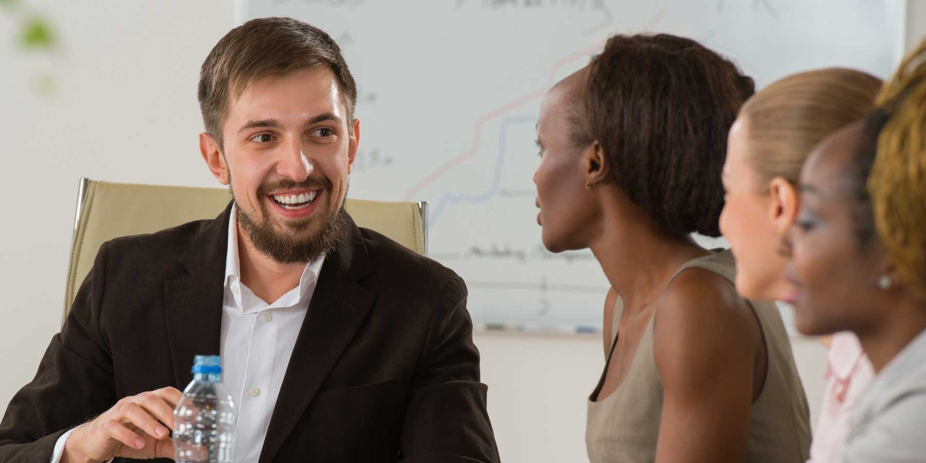 man and women in meeting